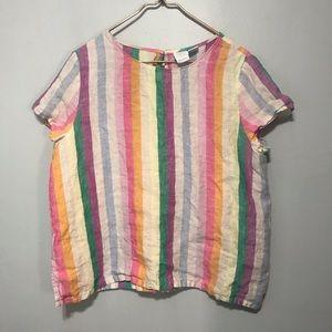 Vintage 100% Linen Colorful Striped Blouse
